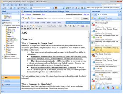 Harmony - a lot of pleasure for Outlook and Google Docs users