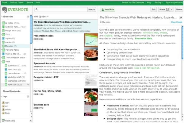 Evernote finally gets a normal Web app