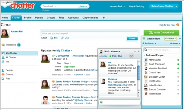 New Saleseforce Chatter: extranet groups, real-time chat, screen-sharing, HTML5