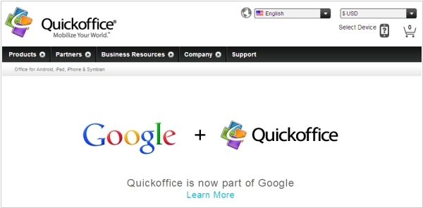 Google acquired the best mobile office - Quickoffice