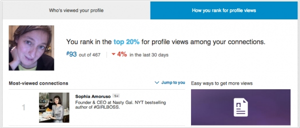 LinkedIn now shows your rank in your network