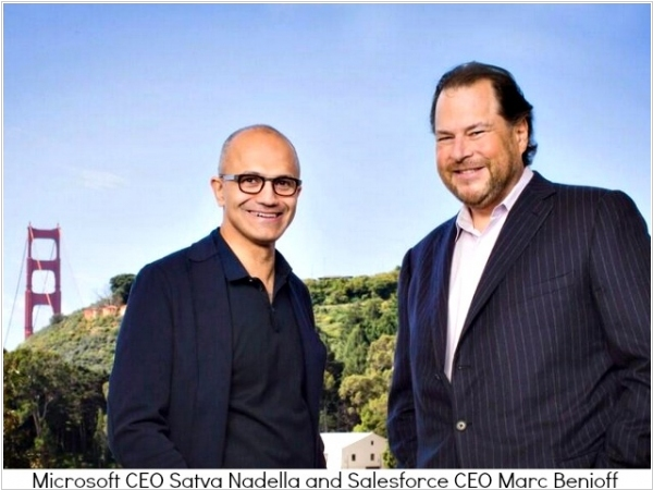 New friends: Satya Nadella and Marc Benioff