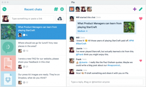 Pie - group collaboration chat with less noise