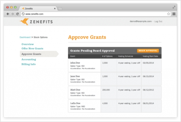 Cloud HR service Zenefits adds grant management