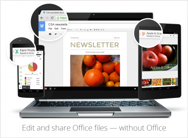 Google Docs allows to edit MS Office files without conversion
