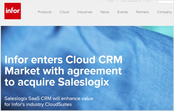 Infor acquired Saleslogix CRM
