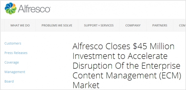 Alfresco raises $45M to fight with EMC and Microsoft