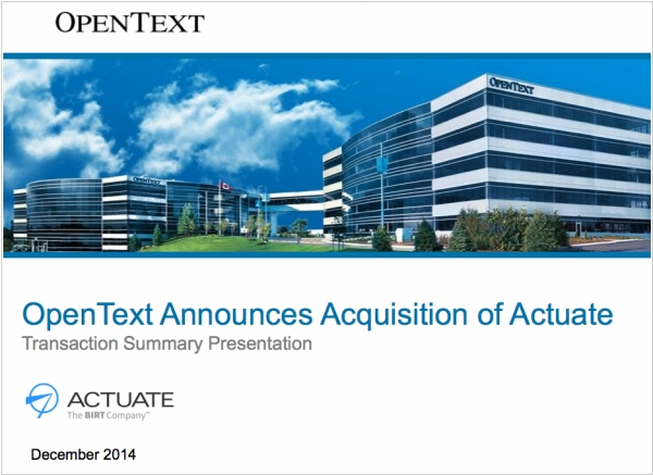OpenText buys Big Data analytics provider Actuate for $330 Million