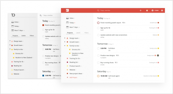 Todoist redesigned its web app