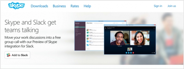 Skype integrated with Slack
