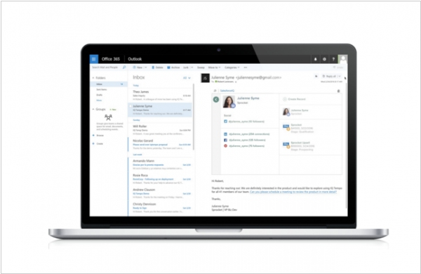 SalesforceIQ integrates with Outlook