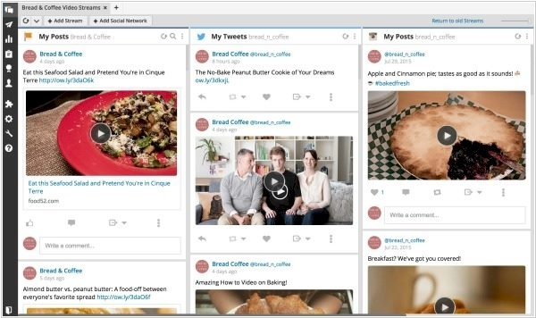 Hootsuite integrated with Youtube and social video sites