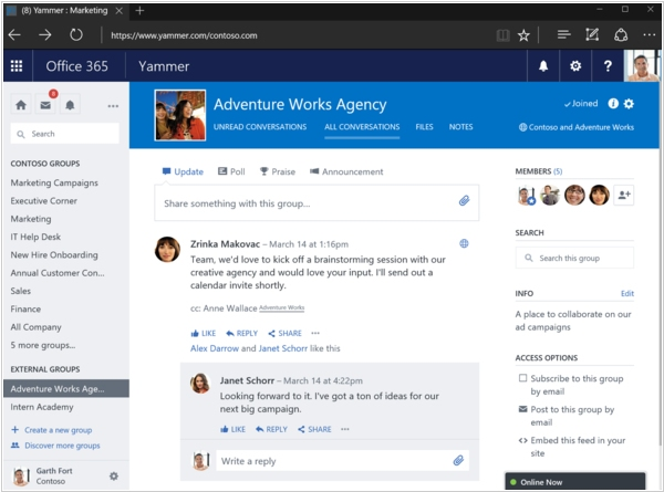 Yammer now allows to create External groups