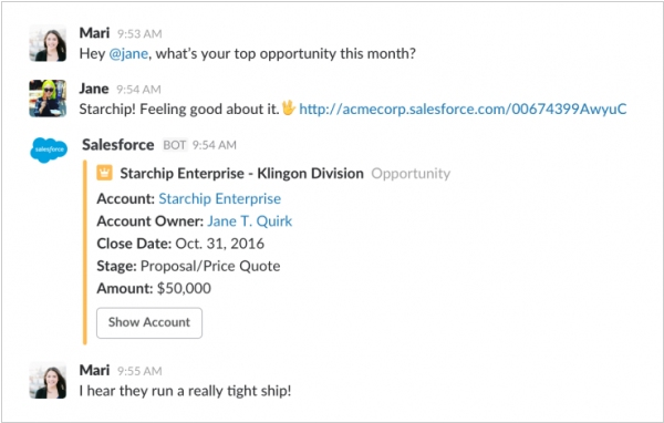 Slack deeply integrates with Salesforce
