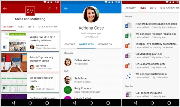 Microsoft released SharePoint for Android