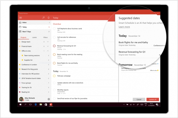Todoist uses machine learning to predict your task due dates