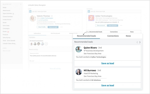 Zoho partners with LinkedIn to integrate Sales Navigator into Zoho CRM