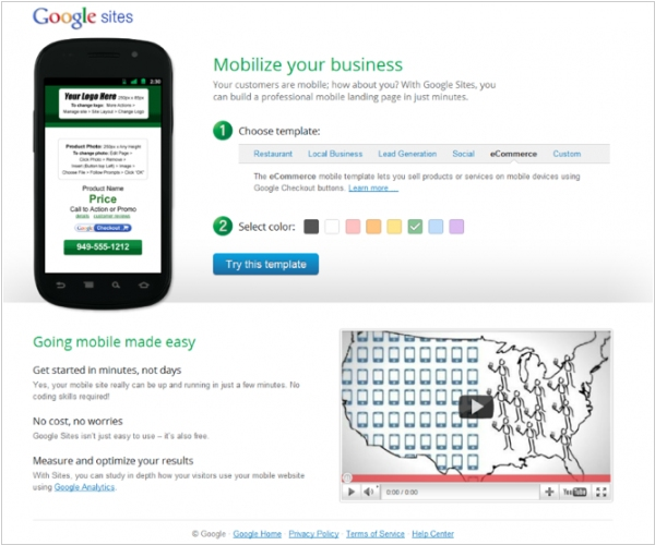 Google Sites now allows to create mobile landing pages