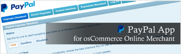 osCommerce integrates with Paypal