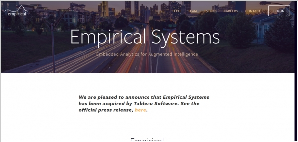 Tableau acquired AI-analytics startup Empirical Systems