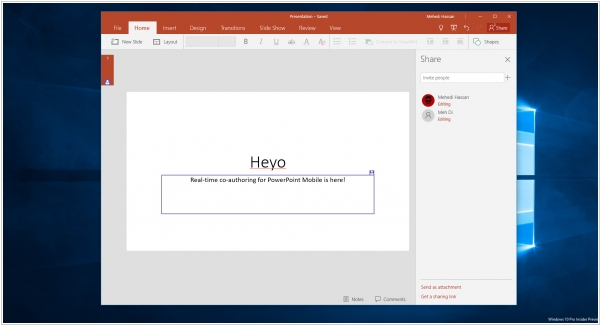 Real-time co-authoring in PowerPoint Online. Office Web Apps on Android tablets