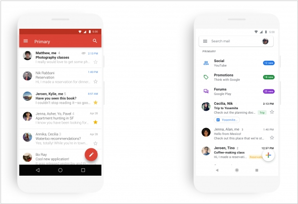 Mobile Gmail gets Material Design UI