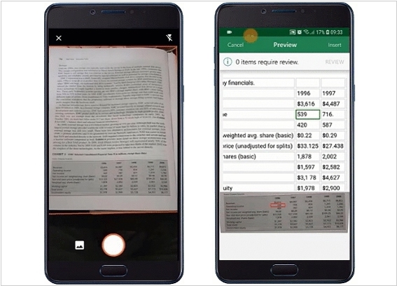 Microsoft added table OCR to mobile Excel
